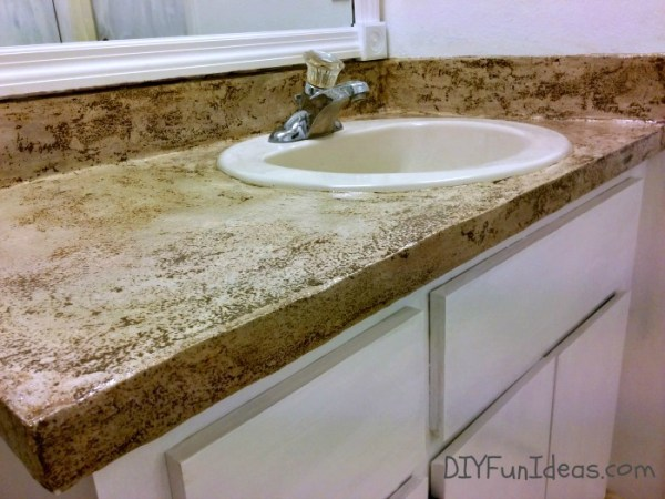 Jenise DIY Fun Ideas - DIY concrete overlay vanity countertop, stained and sealed, review
