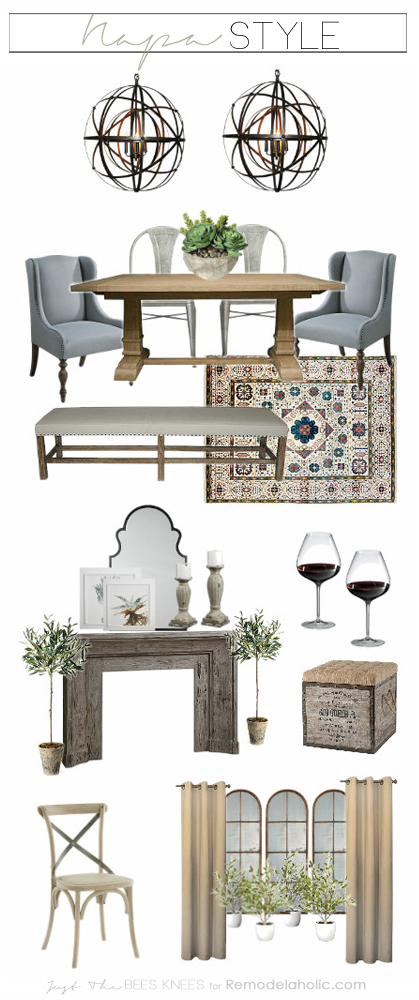 Learn to create a luxe feeling in your own home in a Napa inspired dining room: an earthy, old world feel with a slightly modern touch. (including product sources)