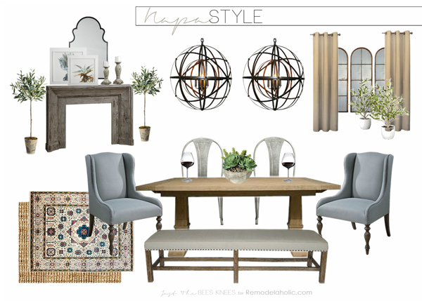 Learn to create a luxe feeling in your own home in a Napa inspired dining room: an earthy, old world feel with a slightly modern touch.