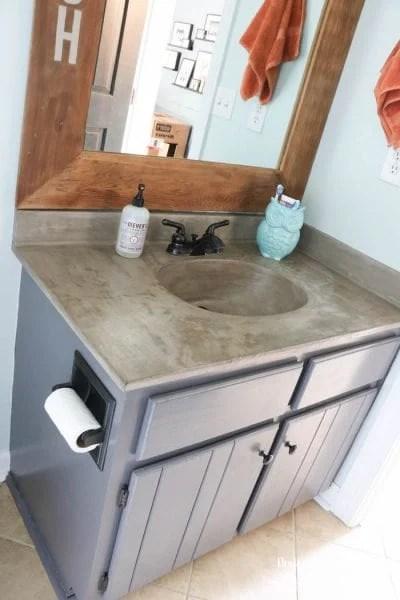 Remodelaholic Diy Concrete Countertops In A Beautiful Master Bathroom Renovation