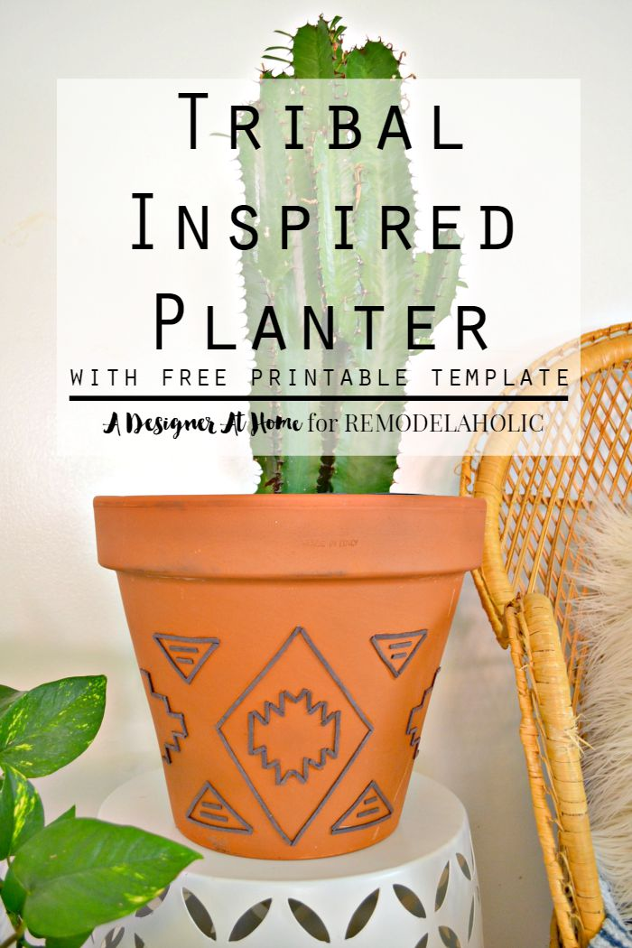 Give your plant pots some style with this easy technique for a tribal-inspired suede embellished planter. Use the provided template, or create your own design.