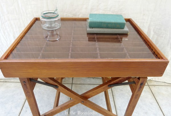 upcycled broken director's chair and cassette tape organizer into a stunning display table - In The Boondocks on Remodelaholic (8)