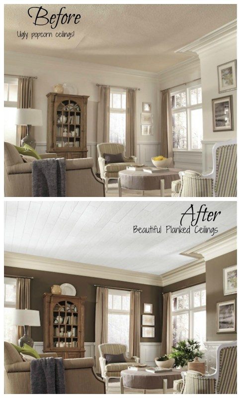 No more popcorn ceilings! Armstrong planked ceiling makeovers #thecoverup