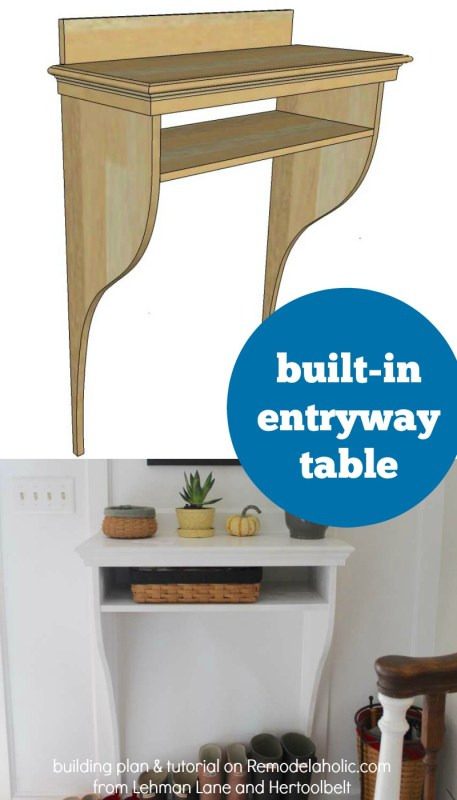 Make your own simple built-in entryway table -- a perfect complement to board and batten wainscoting, giving you storage without taking up floor space. An easy 2-day project with full photo tutorial plus building plan.