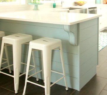 Update a Plain Kitchen Island or Peninsula with Planks and Corbels