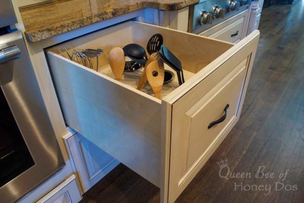 DIY kitchen utensil drawer organizer upright utensils deep drawer tutorial, Queen Bee of Honey Dos on @Remodelaholic