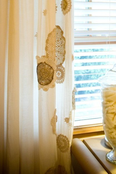 add lace doilies white curtains