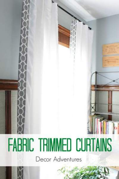 add thick fabric trim to white curtains