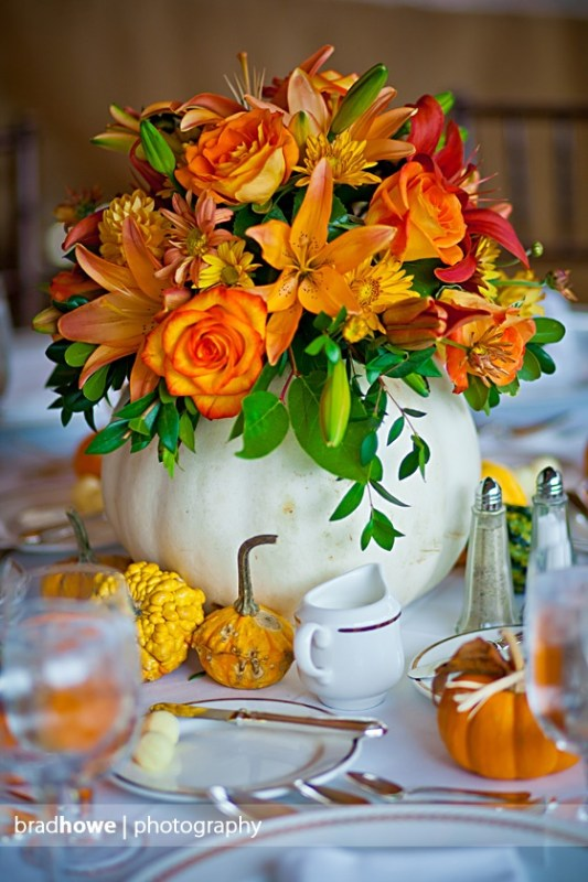 beautiful white pumpkin floral centerpiece, Brad Howe Photography