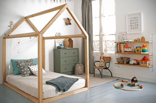 build a simple floor bed with a wood house frame for kids BonneSoeurs via Apartment Therapy
