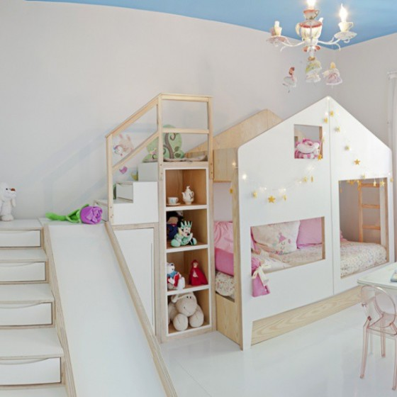 bunkbed playhouse with slide and storage steps via Bebe Com Estilo