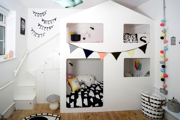 custom built house bunkbed and playhouse This Modern Life