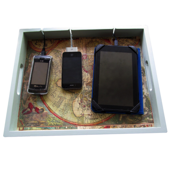 diy charging station lined tray