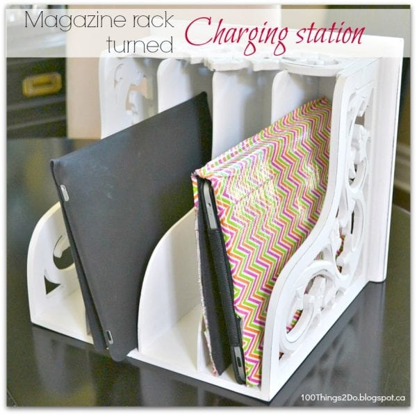 diy charging station magazine rack from 100 things to do on Remodelaholic