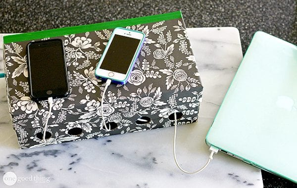 diy charging station shoe box from one good thing