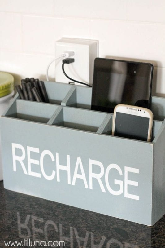 diy charging station wood by Lil Luna on Remodelaholic