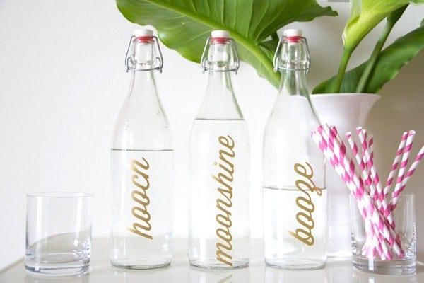 diy metallic bar bottle labels