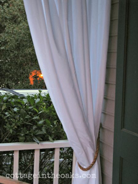 diy rope tie-backs white curtains