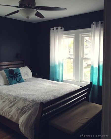 dyed ombre white curtains teal