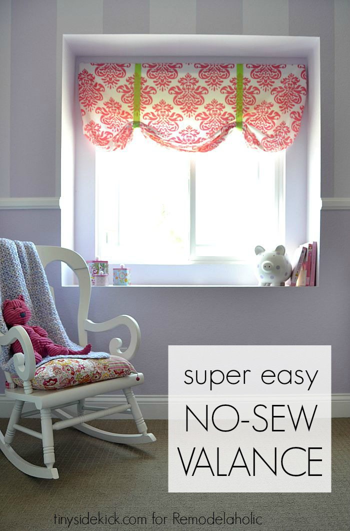 Remodelaholic Easy No Sew Window Valance From A Crib Sheet