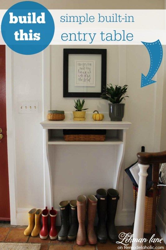 This built-in entryway table is perfect for a small entry! It takes up zero floor space, but gives you just enough storage for your keys and mail. Plus, it looks great with the board and batten, so in a weekend, you can completely make over your entry!