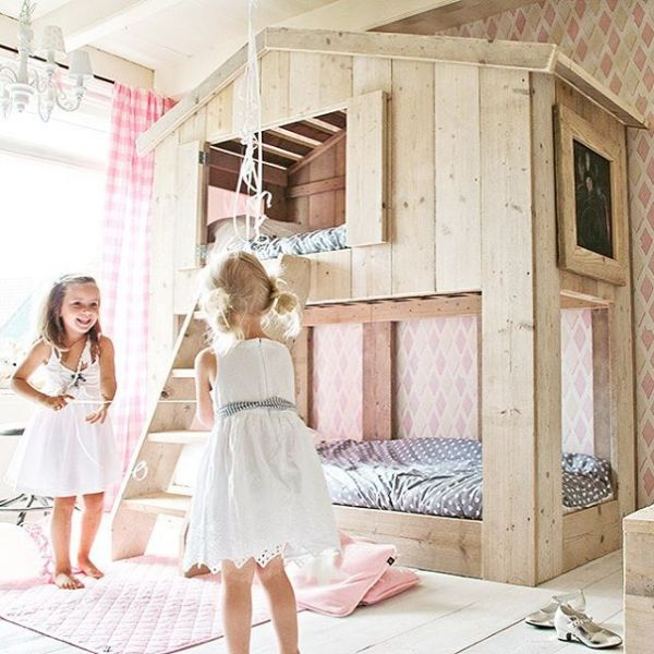 kids bunkbed playhouse loft via bestkiddos