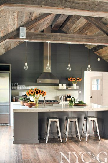 open beams for modern farmhouse kitchen