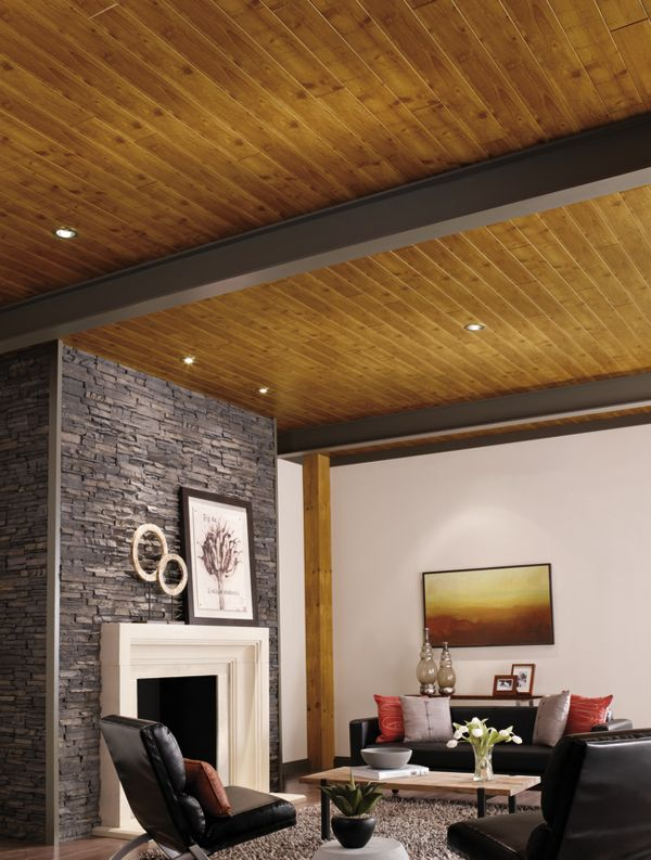 gorgeous plank and beam ceiling