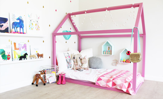 pink girls house bed frame floor bed via This Little Love