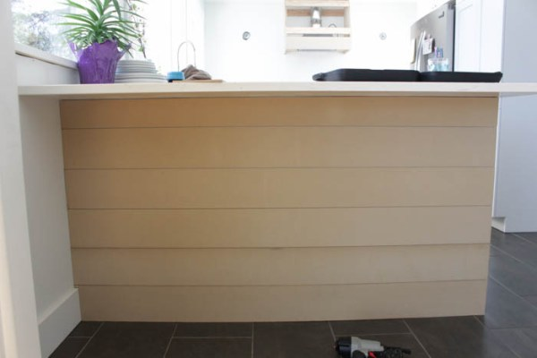 plank style shiplap kitchen island update, The Happy Housie on @Remodelaholic