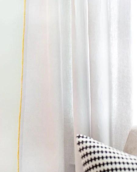 pom pom trim outside edge white curtains