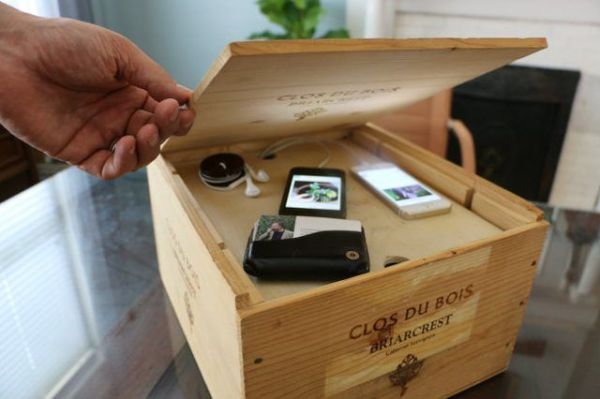 wine crate diy charging station