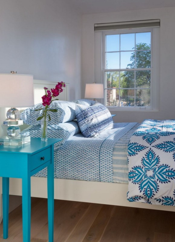 Love the mix of patterns! Blue bedroom by Violante & Rochford Interiors, photo credit © Wendy McEahern