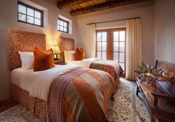 colorful orange modern Southwest shared bedroom by Violante & Rochford Interiors, photo credit © Wendy McEahern