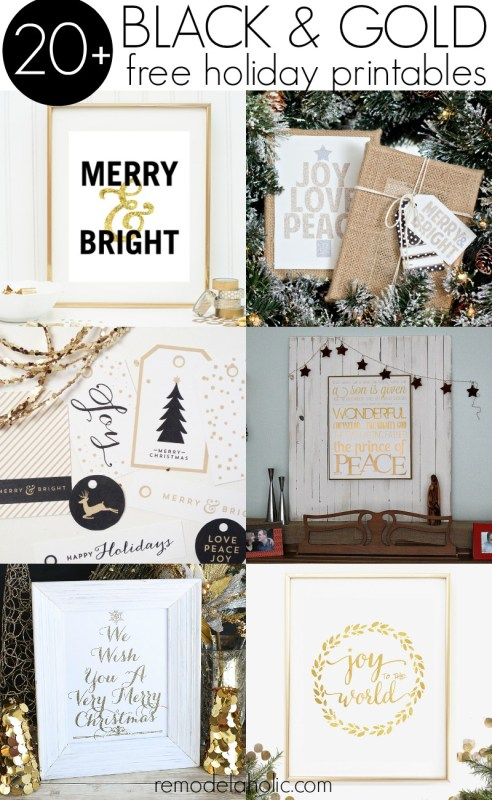 Black and Gold Free Holiday Printables @Remodelaholic