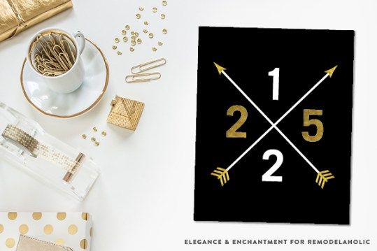 Free Printable Classy Holiday Art Prints in Gold, Black and White. These four prints could be hung individually or as a set. An easy Christmas decor idea or holiday gift! Designs by Elegance and Enchantment for Remodelaholic.