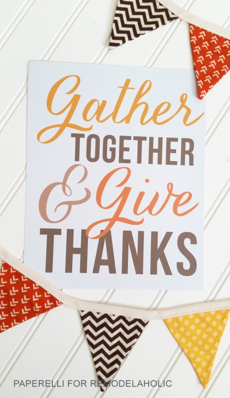 Free Thanksgiving Printable! Gather together and give thanks