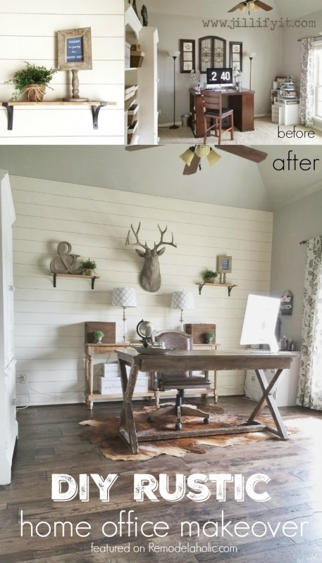 Shiplap is a popular wall treatment for a reason: it's great for fixing damaged walls, it adds character, and it's an expensive and easy DIY. See how Jill transformed her office into a beautiful rustic space.