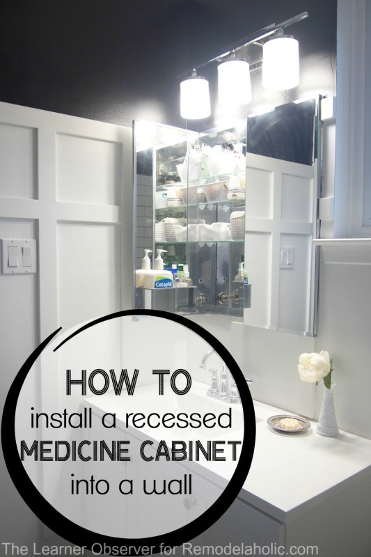 I had no idea it was this easy to install a recessed medicine cabinet! This quick and easy guide to installing a recessed medicine cabinet into your bathroom wall will help make the most of a small space.