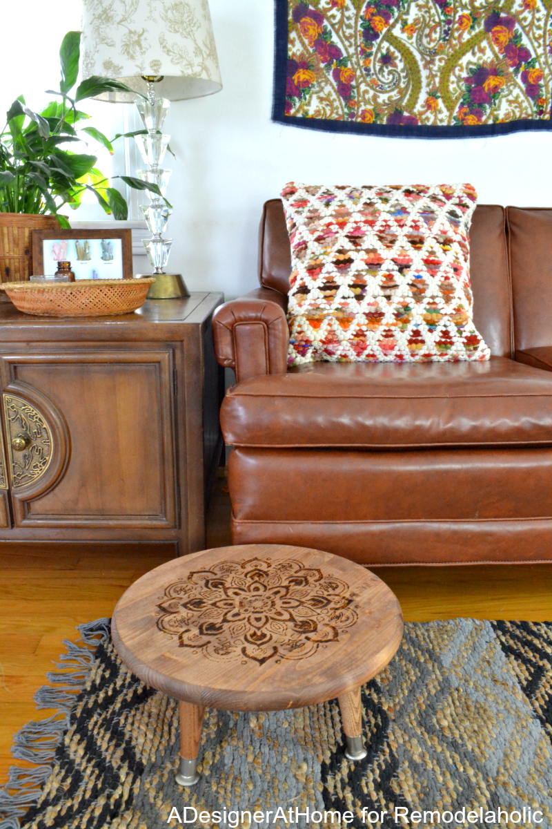 This easy wood-burned planter stool (or footrest) is a great addition to a color boho style living room