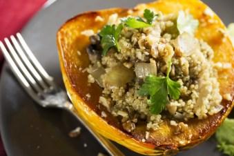 pumpkin seed and quinoa stuffed squash