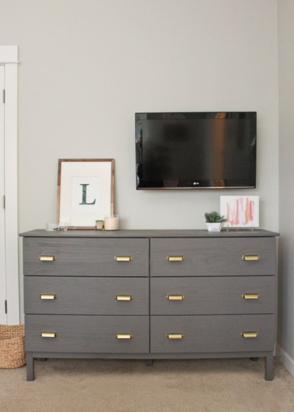ikea tarva 6-drawer dresser gold pulls gray paint