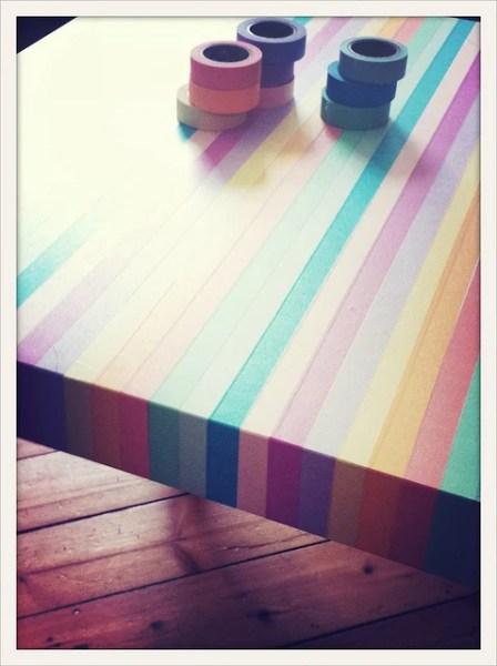 lack side table washi tape stripes