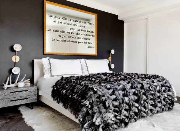 Gorgeous black and white master bedroom design (designed by Tamara Magel via @Remodelaholic)