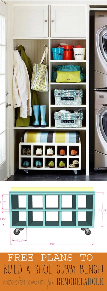 This shoe storage bench is perfect! Enough room for shoes, pull it out for an entryway seat, slide it back under the shelf to make room. Free easy building plan!
