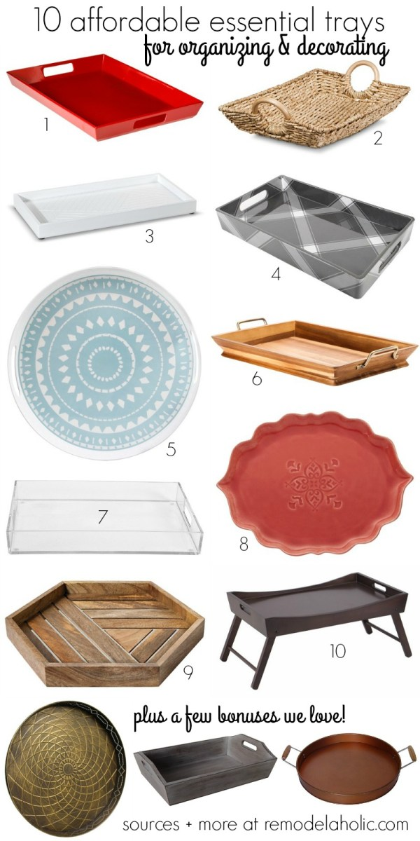 10 essential decorative trays that are also affordable! All under $25 @Remodelaholic