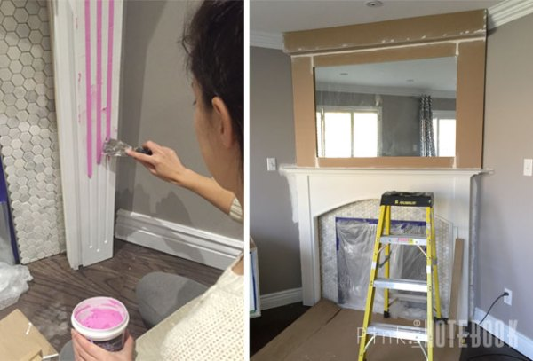 DIY corner fireplace update Pink Little Notebook featured on @Remodelaholic