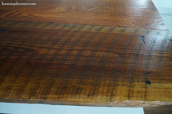 13 Rustic table built from reclaimed barn wood, historic farmhouse remodel, by Kammy's Korner featured on @Remodelaholic