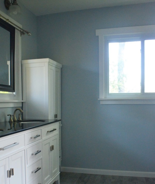 Bathroom Remodel, Glidden Fostoria Glass Blue Paint