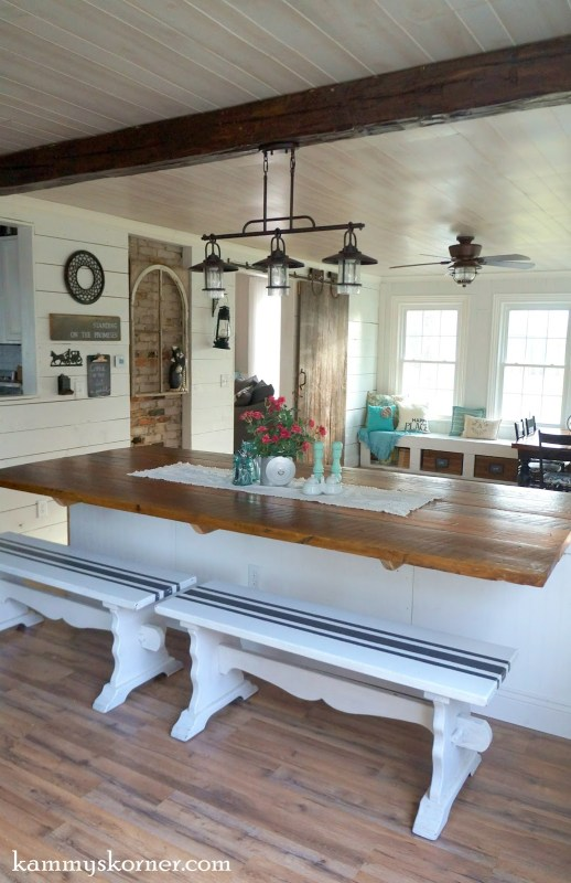 17 4 Dining room remodel using reclaimed wood, after, by Kammy's Korner featured on @Remodelaholic